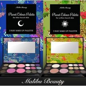 『 肌色に合わせて選べる2つのメイクパレット コスパ最強』Maribu Beauty マリブ プラネットカラーパレット(01ブルーベース肌用/02イエローベース肌用) [メール便・送料無料](アイブロウカラー・チークカラー・アイシャドウ)