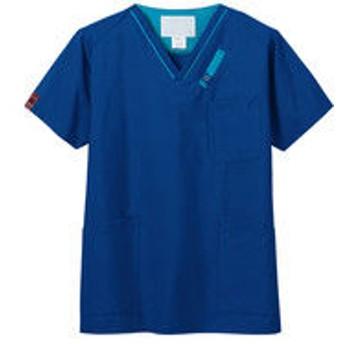 FOLK(フォーク) PANTONE(パントン) スクラブ 7042SC ネイビー×ターコイズ 4L 医療白衣 1枚(直送品)