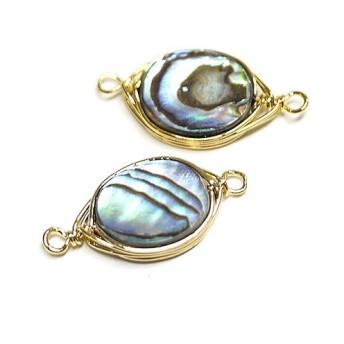 新作【1個】1点もの!アワビの貝殻Abalone Shell楕円形 両カン付きゴールドチャーム、パーツ