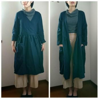 濃紺リネン100%長袖カシュクールワンピ☆織りコートにも