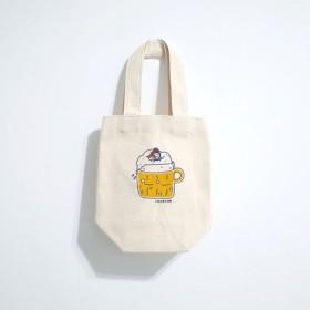 マイクロ - 日常キャンバスドリンクバッグ(アイスダムカップ)手描きキャンバスバッグ