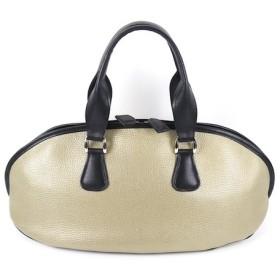 牛革製ラグビーボール型バッグ・がま口小銭入れ付(ゴールド&ブラック)