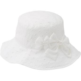 ミキハウス ダイヤ柄の綿レースハット(帽子) 白