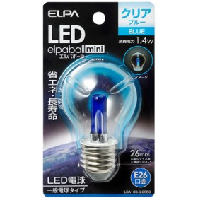ELPA 朝日電器 LED電球 エルパボールmini 装飾電球PS形 1.4W 青色 E26 LDA1CB-G-G558