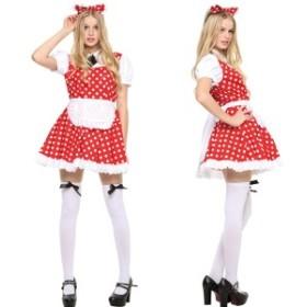 ハロウィン コスプレ 衣装 ディズニー レディース ミニー風 女性 コスチューム 仮装 メイド服 PPF ピピメイド レッド
