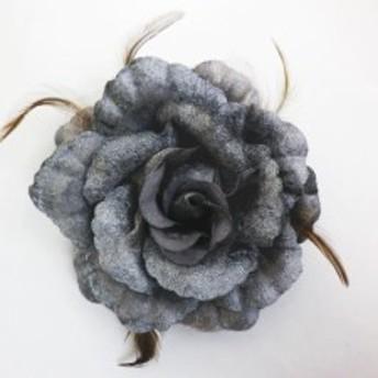 振袖成人式&袴・浴衣に 髪飾り(コサージュ)グレー薔薇羽根