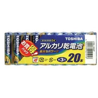 東芝 LR6L20MP アルカリ乾電池単3形 20本パックTOSHIBA[LR6L20MP]【返品種別A】