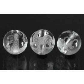 天然石 ビーズ【彫刻ビーズ】水晶 10mm (素彫り) 白虎 パワーストーン
