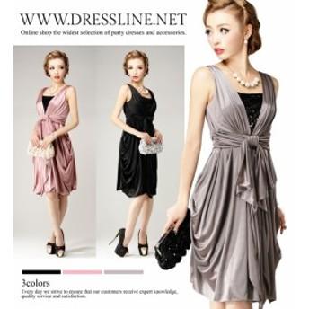 【アウトレット】【4サイズ】ウエストリボン トリコットコクーン ワンピースドレス