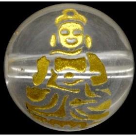 天然石 ビーズ【彫刻ビーズ】水晶 10mm (金彫り) 八大観音「大日如来」 パワーストーン