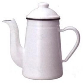 【【カリタ】コーヒー達人・ペリカン1L ホワイト(52123)ホーロー製 (K) 】コーヒーケトル、ホーロー ポット、ホーロー ケトル、ポット