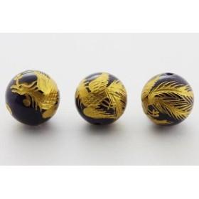 天然石 ビーズ【彫刻ビーズ】アメジスト 12mm (金彫り) 鳳凰 パワーストーン