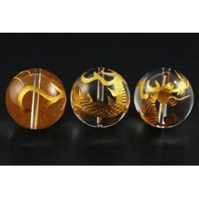天然石 ビーズ【彫刻ビーズ】水晶 20mm (金彫り) 青龍 ※ネコポス不可※ パワーストーン