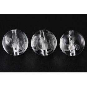 天然石 ビーズ【彫刻ビーズ】水晶 10mm (素彫り) 虎 パワーストーン