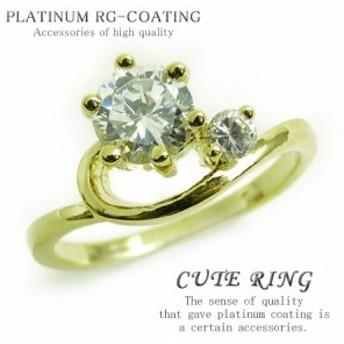 デザイン抜群 超可愛いピンキーリング 高級プラチナRG加工 パーティーや結婚式プレゼントにも kor185