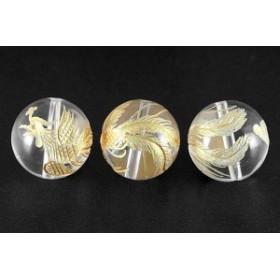 天然石 ビーズ【彫刻ビーズ】水晶 16mm (金彫り) 鳳凰 パワーストーン