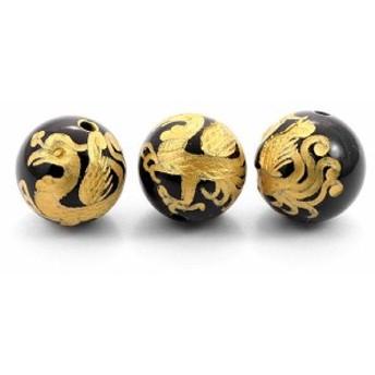 天然石 ビーズ【彫刻ビーズ】オニキス 12mm (金彫り) 朱雀 パワーストーン