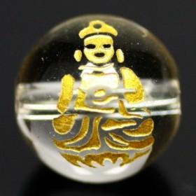 天然石 ビーズ【彫刻ビーズ】水晶 12mm (金彫り) 八大観音「大日如来」 パワーストーン