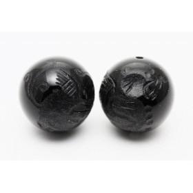 天然石 ビーズ【彫刻ビーズ】オニキス 12mm (素彫り) 貔貅(ひきゅう)右向き パワーストーン