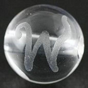 天然石 ビーズ【彫刻ビーズ】水晶 8mm (素彫り) アルファベット「W」 パワーストーン