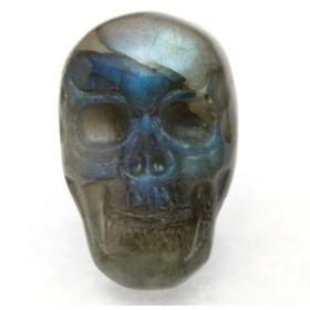 【天然石 彫刻置物】ドクロ ラブラドライト パワーストーン
