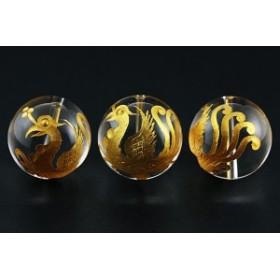 天然石 ビーズ【彫刻ビーズ】水晶 20mm (金彫り) 朱雀 ※ネコポス不可※ パワーストーン