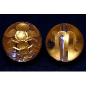 天然石 ビーズ【彫刻ビーズ】水晶 10mm (金彫り) 12星座「蠍座」 パワーストーン