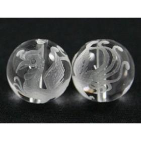 天然石 ビーズ【彫刻ビーズ】水晶 16mm (素彫り) 朱雀 パワーストーン