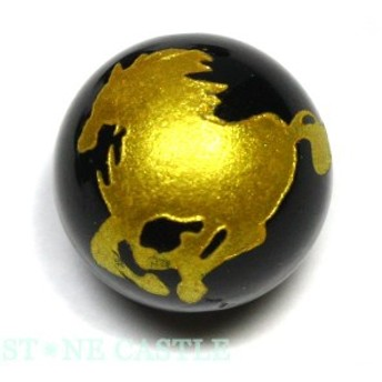 天然石 ビーズ【彫刻ビーズ】オニキス 12mm (金彫り) 馬 パワーストーン