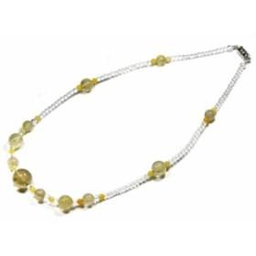 【天然石 ネックレス】オリジナルデザインネックレス (丸型約15mm) ルチルクォーツ (数量限定商品) パワーストーン