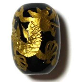 天然石 ビーズ【彫刻ビーズ】オニキス (金彫り) 五爪龍 太鼓型 約13x18mm パワーストーン