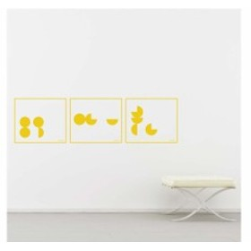 【Smart Design】オシャレな壁紙シール/幾何学図形/ノリ跡が残らない/壁飾りウォールステッカー#イエロー【新品/送料込み】