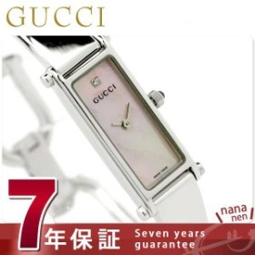 828358ddf843 【あす着】グッチ GUCCI 1500 時計 レディース 1Pダイヤ ホワイトシェル YA015554