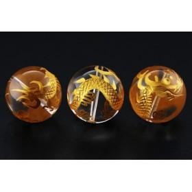 天然石 ビーズ【彫刻ビーズ】水晶 20mm (金彫り) 五爪龍 ※ネコポス不可※ パワーストーン