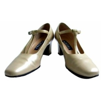 FRESCA Yoshinoya「22.5」Leather heel shoes フレスカ 銀座ヨシノヤ レザー ヒール シューズ (ミュール パンプス) 065467【中古】