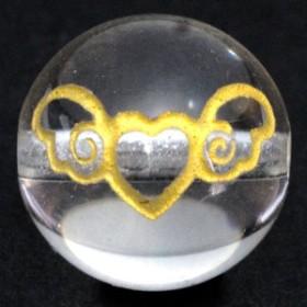 天然石 ビーズ【彫刻ビーズ】水晶 10mm (金彫り) エンジェルハート パワーストーン