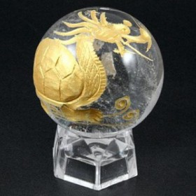 【天然石 彫刻置物】丸玉 水晶30mm (金彫り) 龍亀(ろんぐい) ※ネコポス不可※ パワーストーン