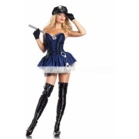 警察服 コスチューム 婦警 手錠 ハロウィン コスプレ 婦人警官 クリスマス ポリス 帽子  chara 童話 制服 pair cute(5640)