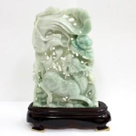 ☆高級一点物☆【天然石 彫刻置物】本翡翠 (台付) No.2 ※ネコポス不可※ パワーストーン