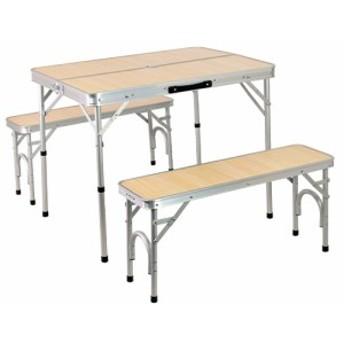 クイックキャンプ (QUICKCAMP) アウトドア 折りたたみテーブルセット 4人用 ナチュラル ALPT-90 軽量 椅子付き 折り畳みテーブル ピクニ