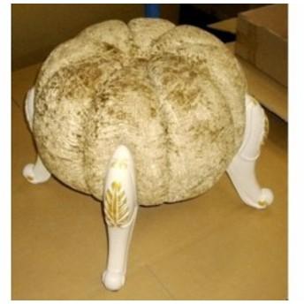 イス パンプキンスツール かぼちゃの椅子 ゴールド・ホワイト