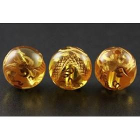 天然石 ビーズ【彫刻ビーズ】シトリン 10mm (金彫り) 五爪龍 パワーストーン