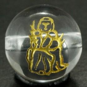 天然石 ビーズ【彫刻ビーズ】水晶 12mm 線彫り (金彫り) 七福神 「寿老人」 パワーストーン