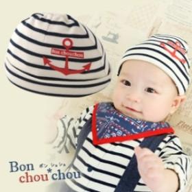 ボンシュシュマリンボーダー新生児帽子【42-44CM】[赤ちゃん][ベビー][帽子][男の子][女の子]