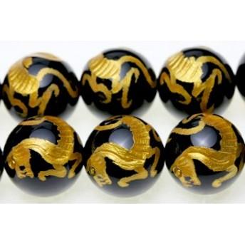 天然石 ビーズ【彫刻ビーズ】オニキス 14mm (金彫り) 白虎 (一連売り) パワーストーン