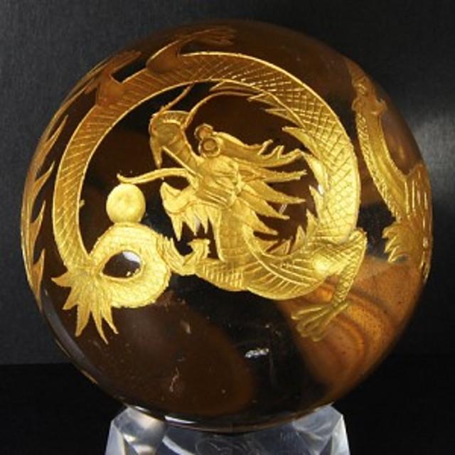 【天然石 彫刻置物】四神獣 丸玉 水晶 45~50mm (金彫り) ※ネコポス不可※ パワーストーン