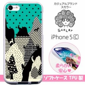 スカラー/50237/スマホケース/スマホカバー/iPhone5C/TPU-ホワイト/アイフォン/山の動物たち シルエット ドット柄 かわいいデザイン ファ