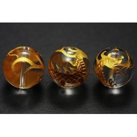 天然石 ビーズ【彫刻ビーズ】水晶 14mm (金彫り) 青龍 パワーストーン
