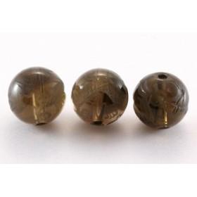 天然石 ビーズ【彫刻ビーズ】スモーキークォーツ 10mm (素彫り) 五爪龍 パワーストーン