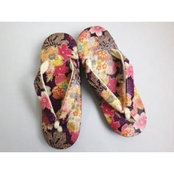 小粋総柄草履ぞうり紫地桜古典 着物&卒業式袴に